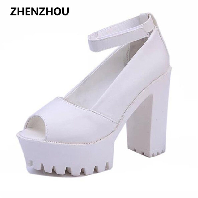 Free shipping 2017 summer style Sexy Open Toe High Heel Sandals Thick Heel Sandals Hasp Fashion Platform Shoes Women High shoes