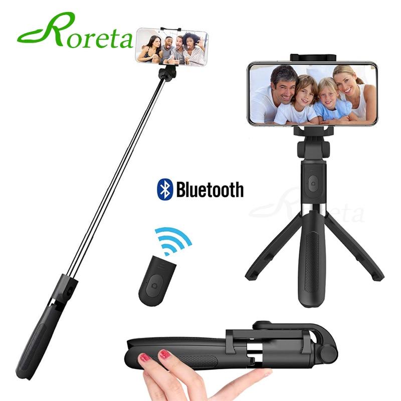 the latest 6c6ff 5d2b9 Roreta 2019 New Tripod Monopod Selfie Stick for iphone 6 7 8 X XS MAX Mini  Tripod Selfie Stick With remote control Pau De Palo