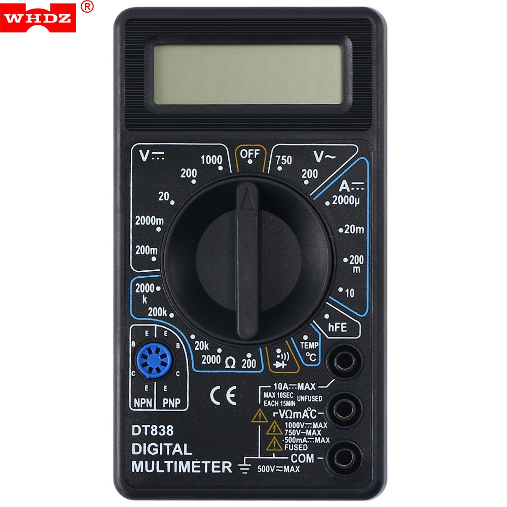WHDZ DT838 LCD Digital Multimeter Tester Instrumentation Voltmeter Measuring Current Resistance Temperature On-off and Buzzer