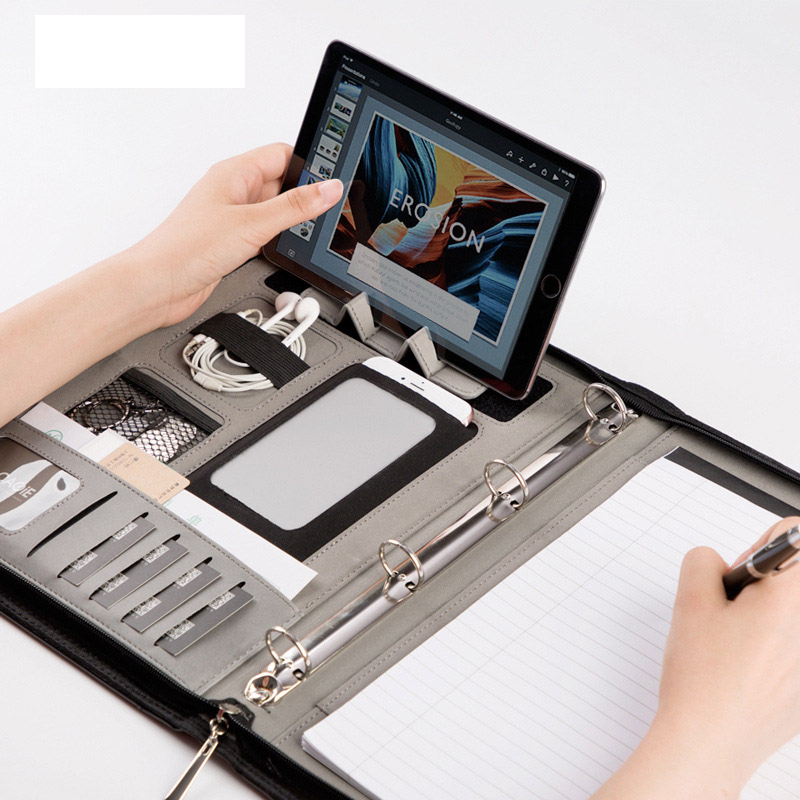 Binder A4 File Folder Document Organizer Manager Padfolio Case PU Business Office Desk File Cabinet Holder Zipper Briefcase Bag