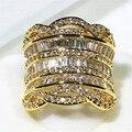 Золото/Платина Покрыли Длинный Цилиндрический Дизайн Большой Палец Полный Блеск AAA Циркония Каменное Кольцо Для Женщин Модные Украшения 2017