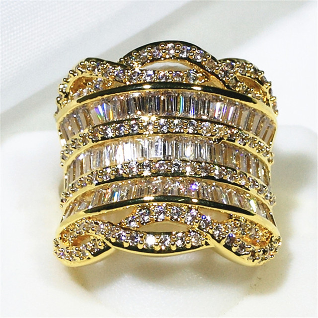 Long Cylindrical Design Big Finger Full Of Shine AAA Zirconia Stone Ring For Women Fashion Jewerly 2019