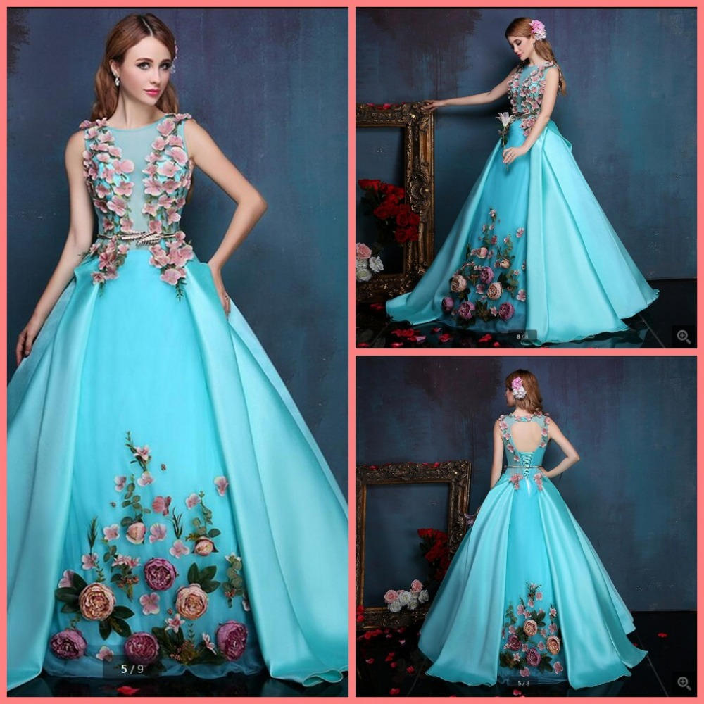 2016 Free Shipping Ball Gown Blue Hand Made Flower Prom Dress Sleeveless Puffy Sashes Prom Gowns Open Back Sexy Prom Dresses