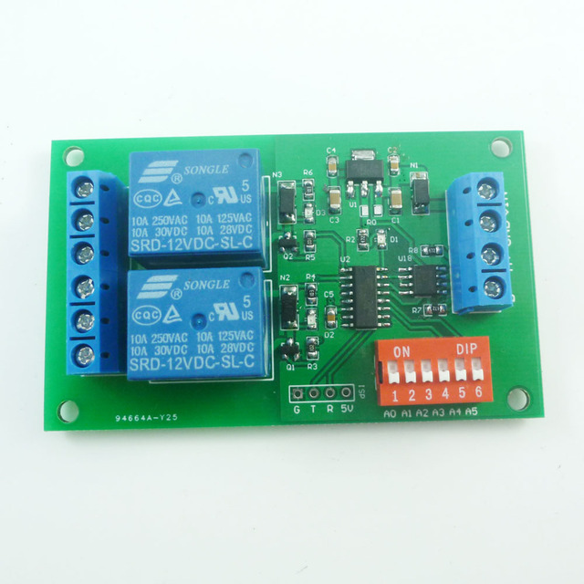 CE035 DC 12V 2 Ch RS485 Relay Board UART Serial port Switch Module ...