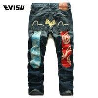 Evisu 2018 Men hipster jeans Casual Fashion Trousers Hip hop Men Pockets Jeans Straight Long Classic Blue Jeans For Men 6141