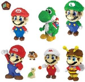 Image 1 - Hc blocos mágicos do mario, jogo popular japonês, personagem, tijolos educativos de construção, modelo yoshi, brinquedos para crianças, brinquedos 9020