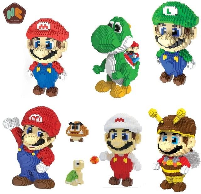 Hc blocos mágicos do mario, jogo popular japonês, personagem, tijolos educativos de construção, modelo yoshi, brinquedos para crianças, brinquedos 9020