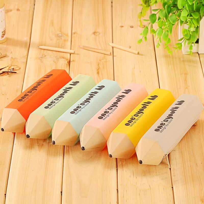 Korean Female Woman Creative Stationery Silicone Pencil Case Makeup Bags Shape Kawaii Stationery Storage Bag Cute Things