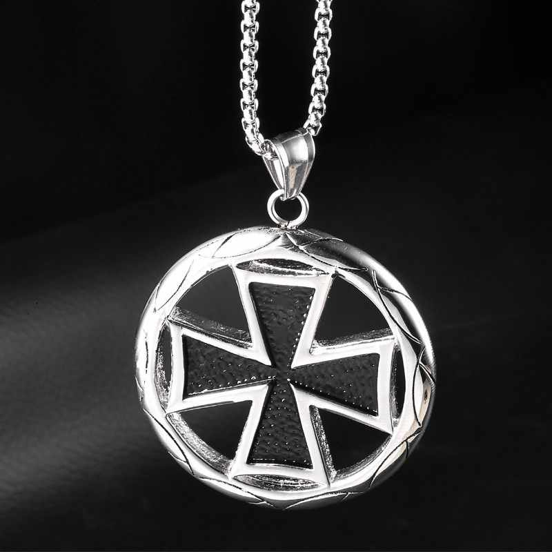 Stainless Steel Black and Silver Large Maltese Iron Cross Chain Necklace DIY