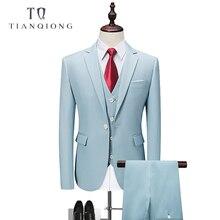 TIAN QIONG 2018 Luxury Mens Black Suit Jacket Pants Formal Dress Men Suit Set Men Wedding Suit Groom Tuxedos(jacket+pants+vest)