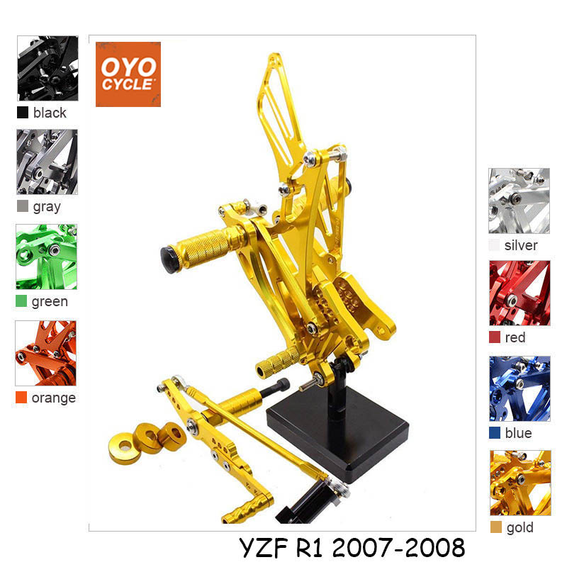 For 07 08 Yamaha YZFR1 YZF R1 CNC Aluminum Adjustable Rear Set Foot Pegs Pedal Footrest