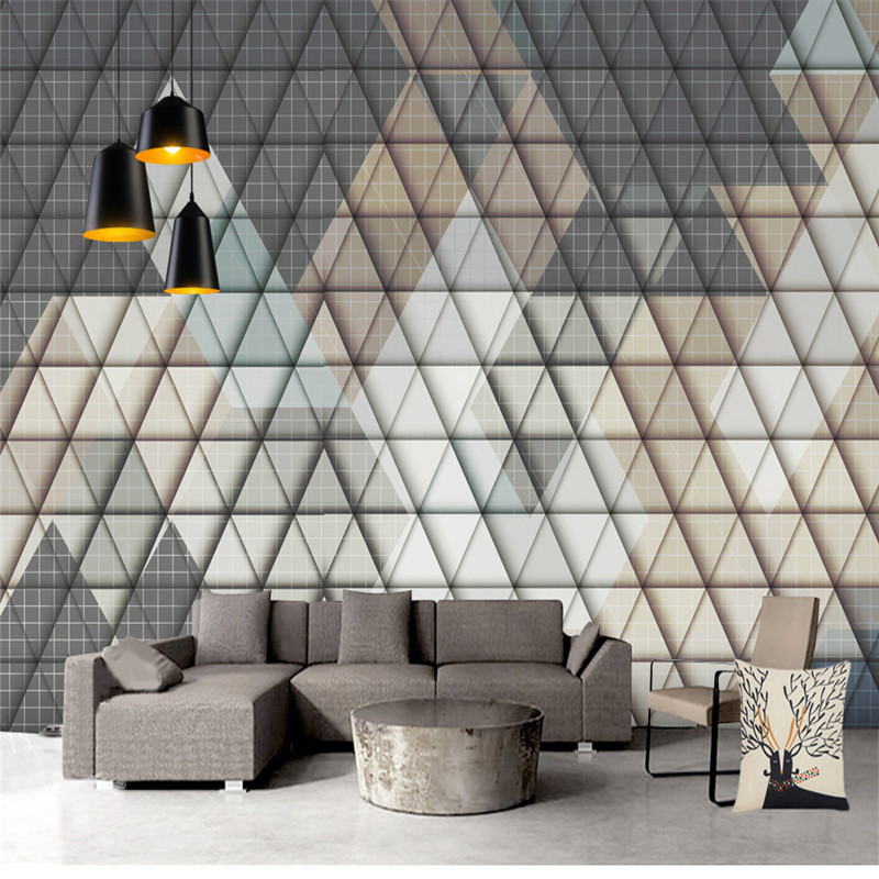 Geometric Diamond Wallpapers 3D Custom Photo Murals Leather for Living Room Bedroom Home Decor Nonwoven Wall Paper for Walls 3D diamond wallpaper for walls 3 d mural wallpapers wall decor textile for living room diamond wall paper gold blue coffee