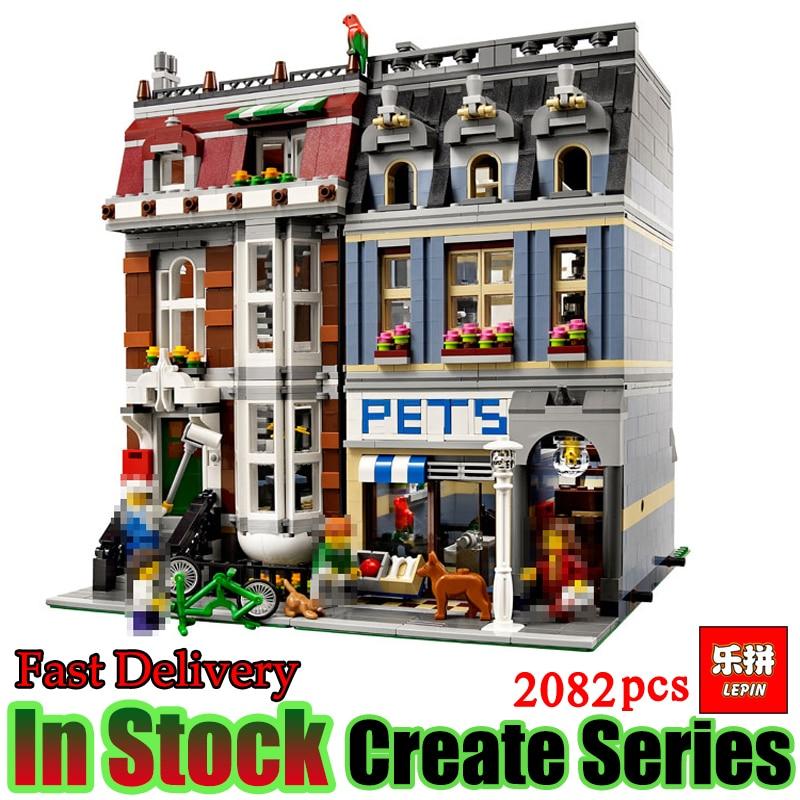 LEPIN 15009 2082pcs Pet Shop Supermarket Model City Street Building Blocks Bricks Compatible 10218 Toys For Gift stadtstrabe creator pet shop supermarkt modell lepin 15009 2082 stucke baustein kinder spielzeug kompatibel 10218 ziegel