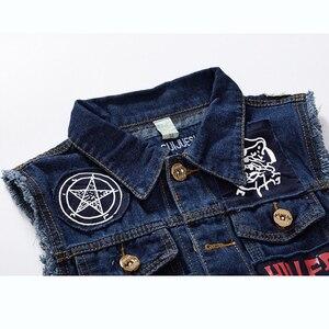 Image 4 - New Hip Hop Mens Patches Design Jeans Vest Ripped Denim Waistcoat Men Denim Vest Man Sleeveless Jeans Vest Frayed MJ 101