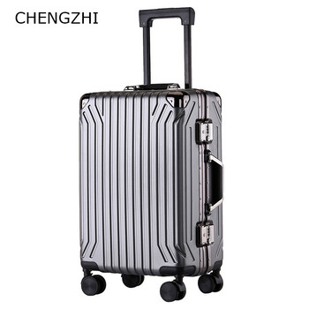 "CHENGZHI 20""24""inch Luxury Aluminum Frame Travel Trolley Suitcase  Business ABS+PC Rolling luggage On Wheels"