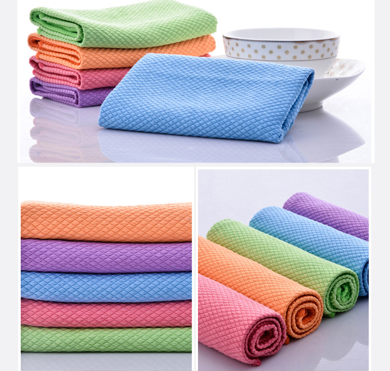 Bar Plaid Microfiber Glass Cleaning Cloths Good Absorption Souring Pad Durable Towels Kitchen Cleaner D20 in Cleaning Cloths from Home Garden