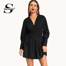 Sheinside Black Surplice V Neck Gathered Sleeve Dress Women Elegant Short Party Dresses 2019 Summer Fall A Line Mini Dress(China)
