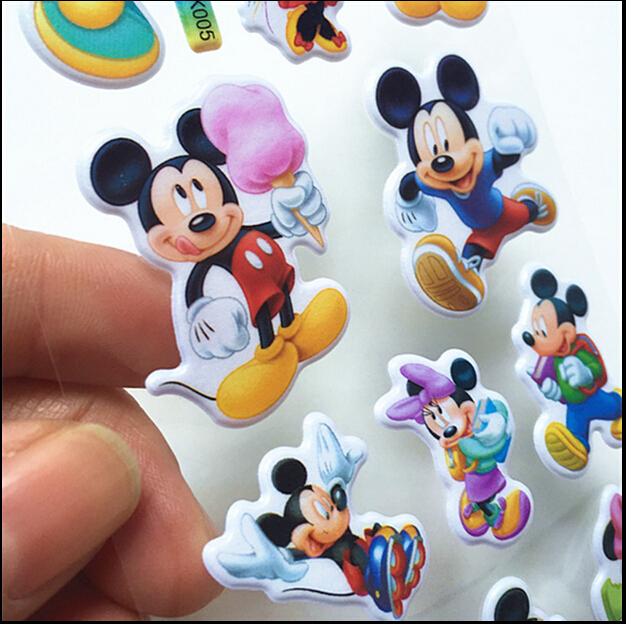 So Cute!!! 6pcs  Lovely mouse Sticker dimensional 3D cartoon PVC bubble stickers girls/boys birthday gift children toys