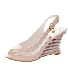 2016 High Wedge Heel Sandals Ankle Strap Open Toe Transparent Shoes Women s Summer Shoes Patent