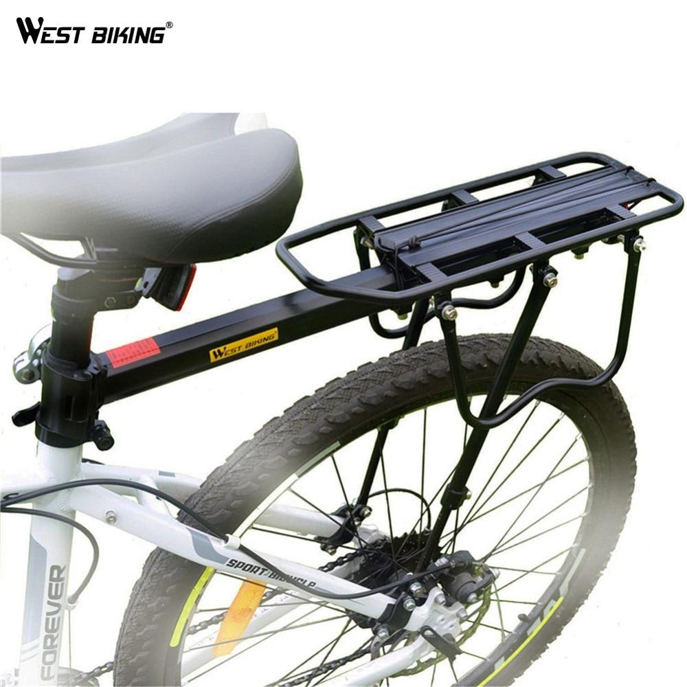 WEST BIKE BIKE In Lega di Alluminio Cremagliera 50 kg Bagaglio Portante Posteriore del Tronco di spedizione Gratuiti per Biciclette MTB Bike Ripiano Posteriore di Riciclaggio Della Bicicletta rastrelliere