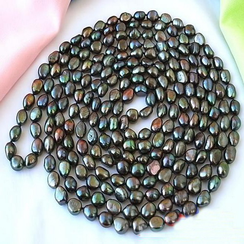 все цены на Handmade Real Pearl Jewellery,100inches 9-13mm Black Baroque Freshwater Pearl Necklace,Perfect Women Birthday Gift онлайн