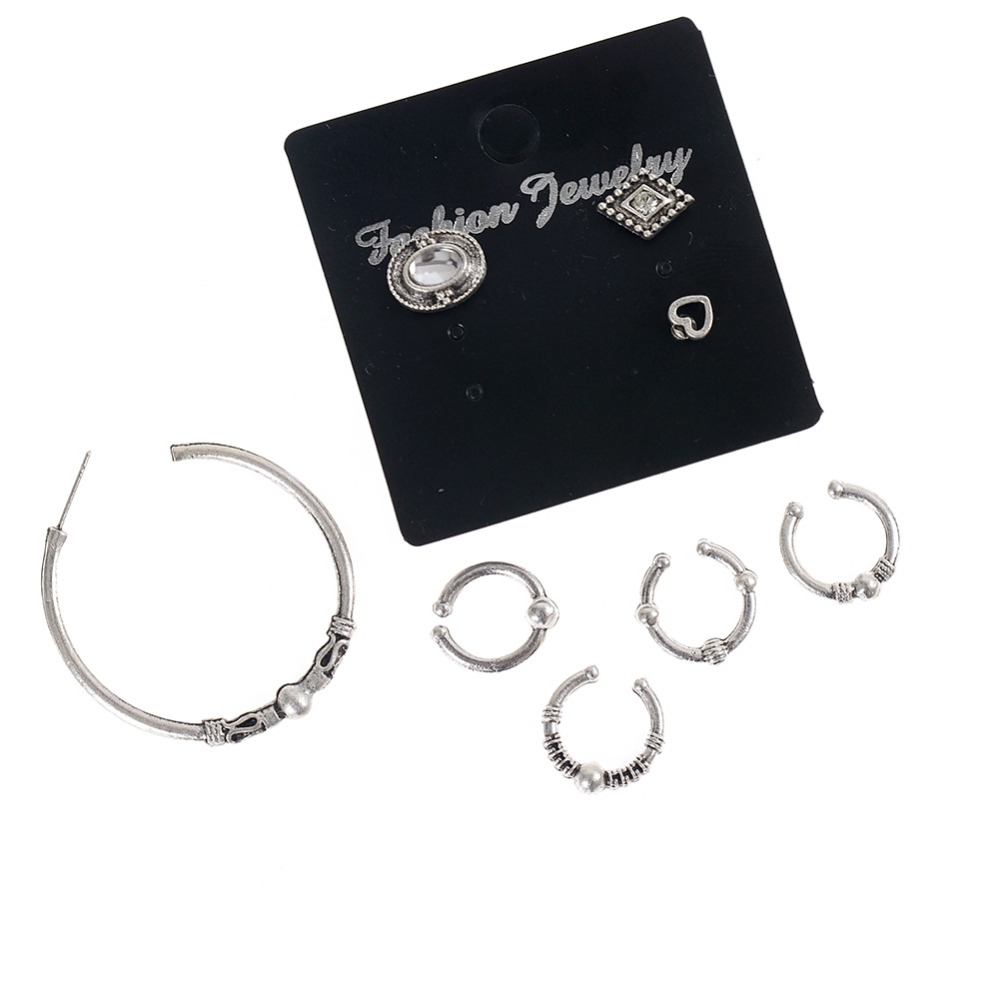5 PCS Clip Earrings Set Vintage Ear Cuff For Women New Year Gift Silver Color Fashion Jewely Women Ear Clip Without Puncture