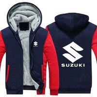 2019 Hot New SUZUKI Jackets Men Thicken Hoodie Riding Clothes Zipper Coat Jacket Fleece Sweatshirt
