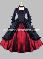 Gothic Black and Red Floral Satin Victorian Ball Gown Stage Costume/Historical Halloween Costume