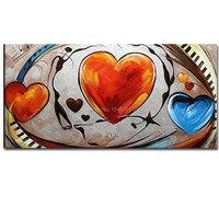 Hand Bemalt Abstrakten Herz Sharp Ölgemälde Auf Leinwand Abstrakte rot Blau Herz Muster Wand Bild Wohnzimmer Home Wand Deco