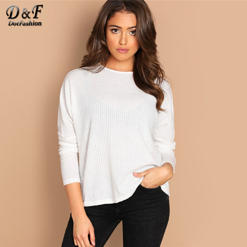 Dotfashion White Solid Rib-Knit Tee Women Long Slee