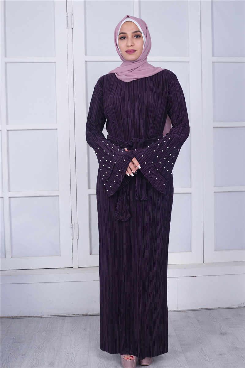 0898ab7d753e0db ... 2018 мусульманское платье-Абая жемчуг Flare рукавом Плиссированные  Moroccan Кафтан Исламская одеяние мусульмане Eid арабское ...