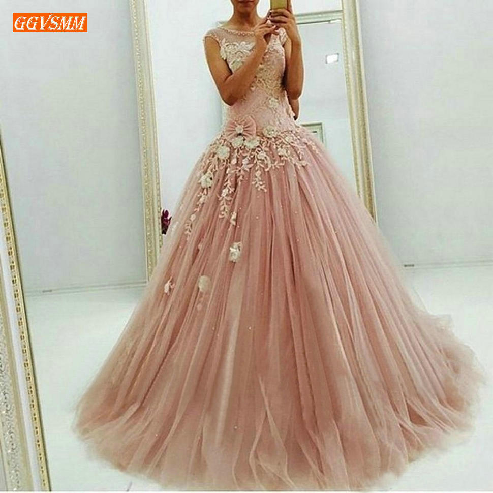 Vintage Blush Pink Ball Gown   Prom     Dresses   Long Lace Appliques Tulle Sweet Formal Party Gowns 2020 Princess Masquerade   Prom     Dress
