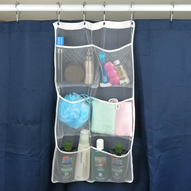 6 Pocket Bathroom Tub Shower Quick Dry Hanging Shower Curtain Rod / Liner  Hooks Mesh  In Hanging Organizers From Home U0026 Garden On Aliexpress.com |  Alibaba ...
