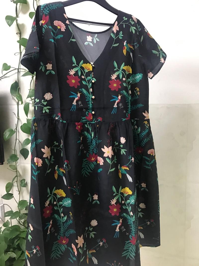 100% soie imprimé floral à manches courtes femmes été lâche robe douce avec boutons-in Robes from Mode Femme et Accessoires    1