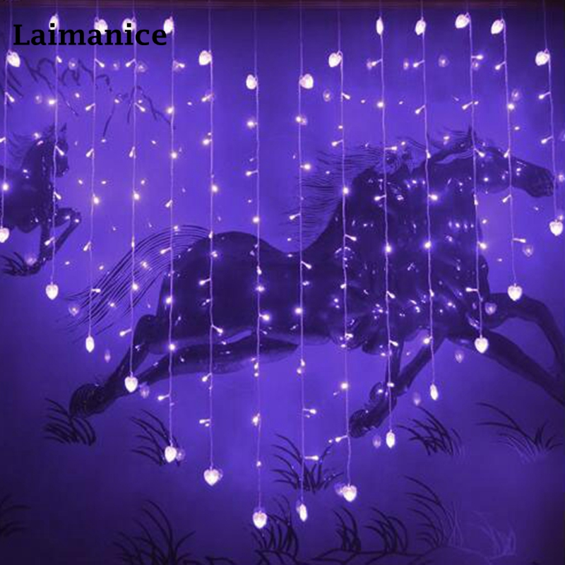 Acheter Laimanice 2 M X 1.5 Coeur Forme 128 Coeurs LED ...