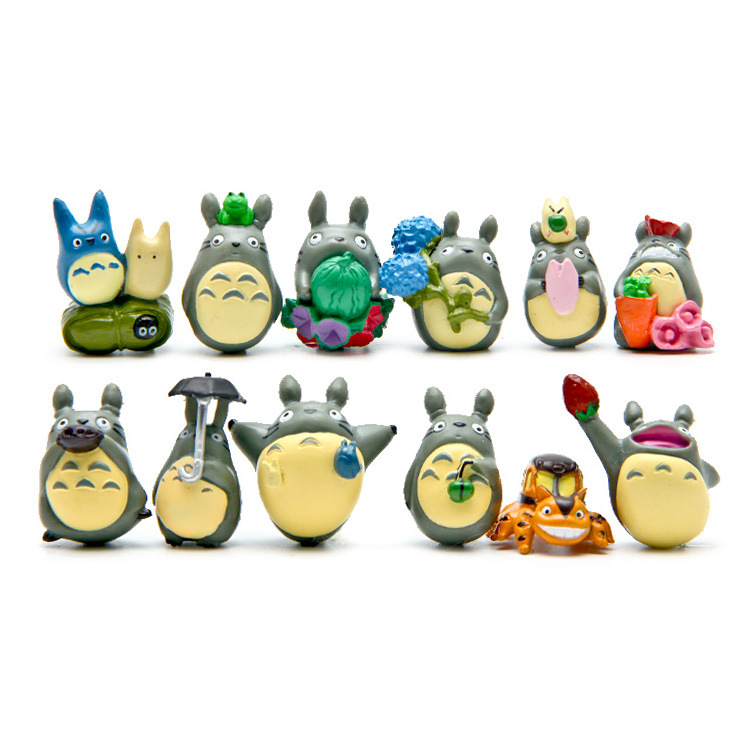 FMRXK 12 pièces/ensemble figurine de Studio Ghibli Hayao Miyazaki Totoro décoration de jardin Figurines Miniatures Terrarium Figurines d'action Anime