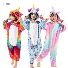 de95f080f Girls Boys Winter Kigurumi Pajamas Unicorn Cartoon Anime Animal Onesies  Kids Sleepwear Flannel Warm Jumpsuit Children