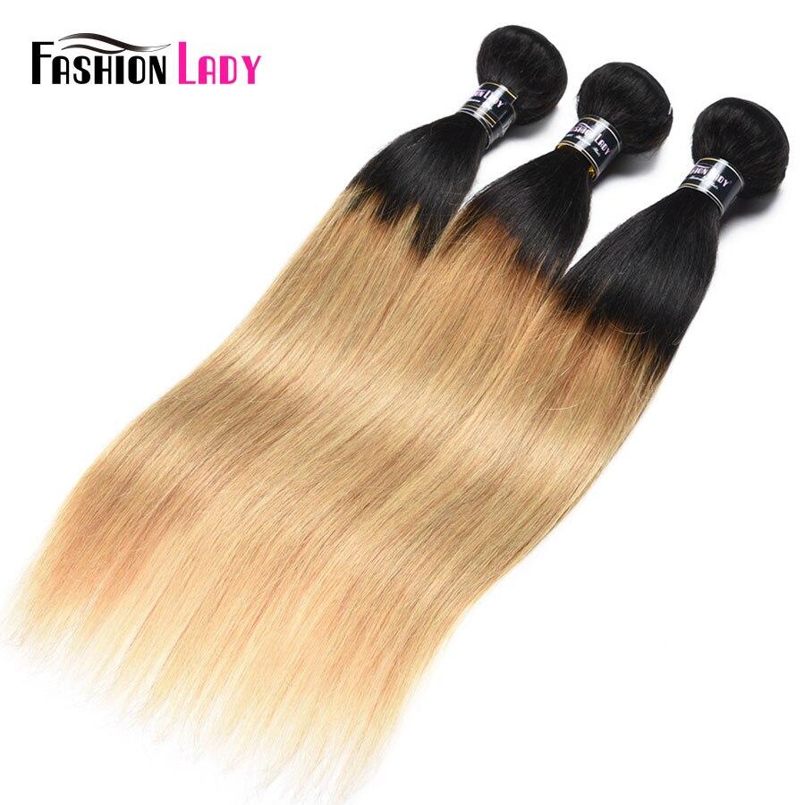 Fashion Lady Pre-Colored 1b/27 Ombre Brazilian Straight Hair 4 Bundles 100% Human Hair Weave Bundles Non-remy Hair Extensions