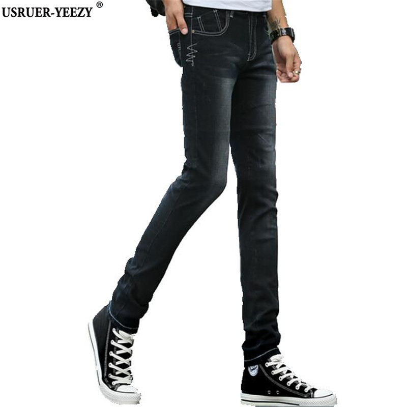 USRUER-YEEZY Jeans Mens New Brand Cotton Stretch Skinny Denim Jeans Male Designer Fashion Washed Slim Elastic Casual Black Pants 2017 fashion patch jeans men slim skinny stretch jeans ripped denim blue pants new famous brand mens elastic jeans f701