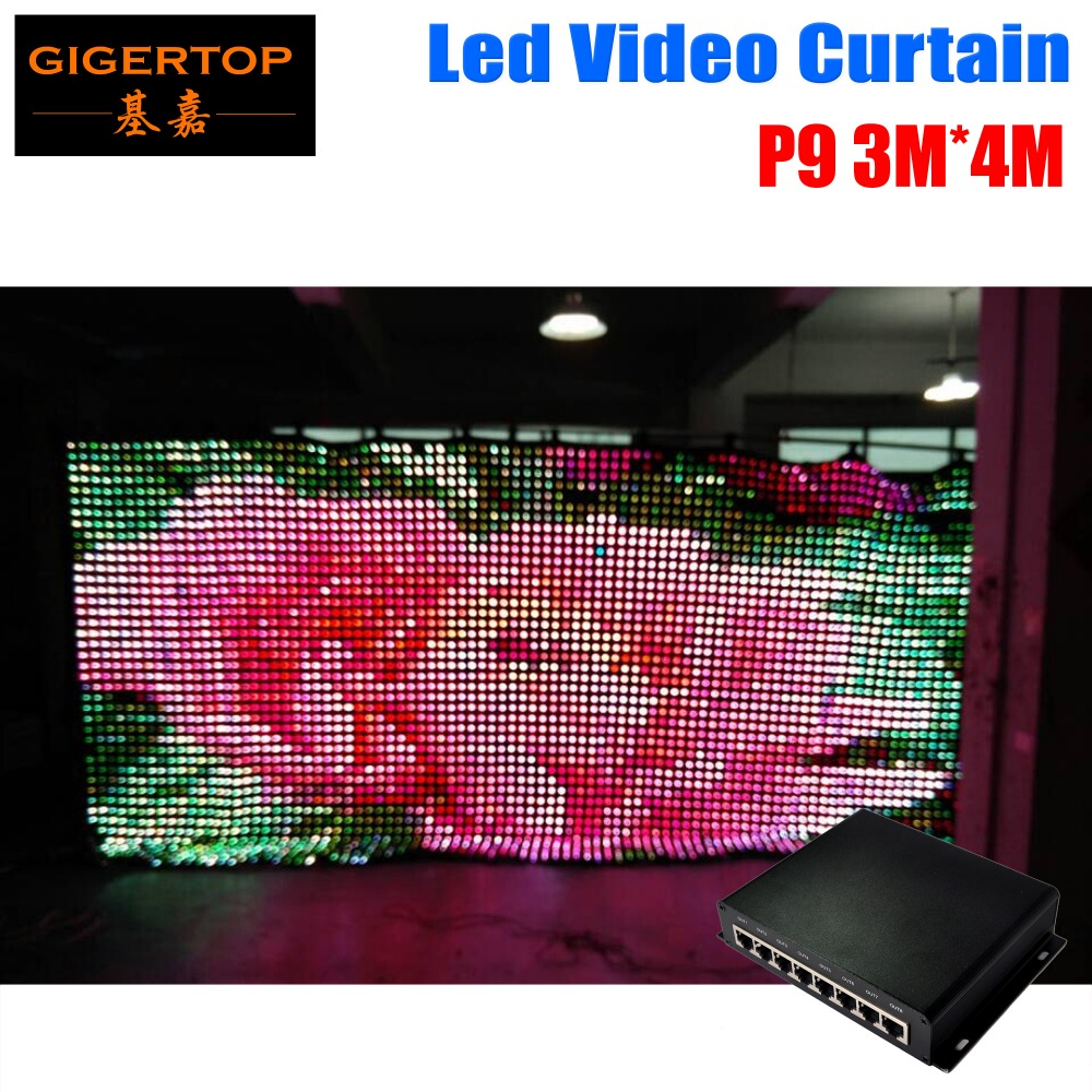 P9 3M*4M DJ Wediing Backdrop LED Video Curtain 100% High Quality Velvet PC Mode Controller+DIY Program Led Stage Effect Light