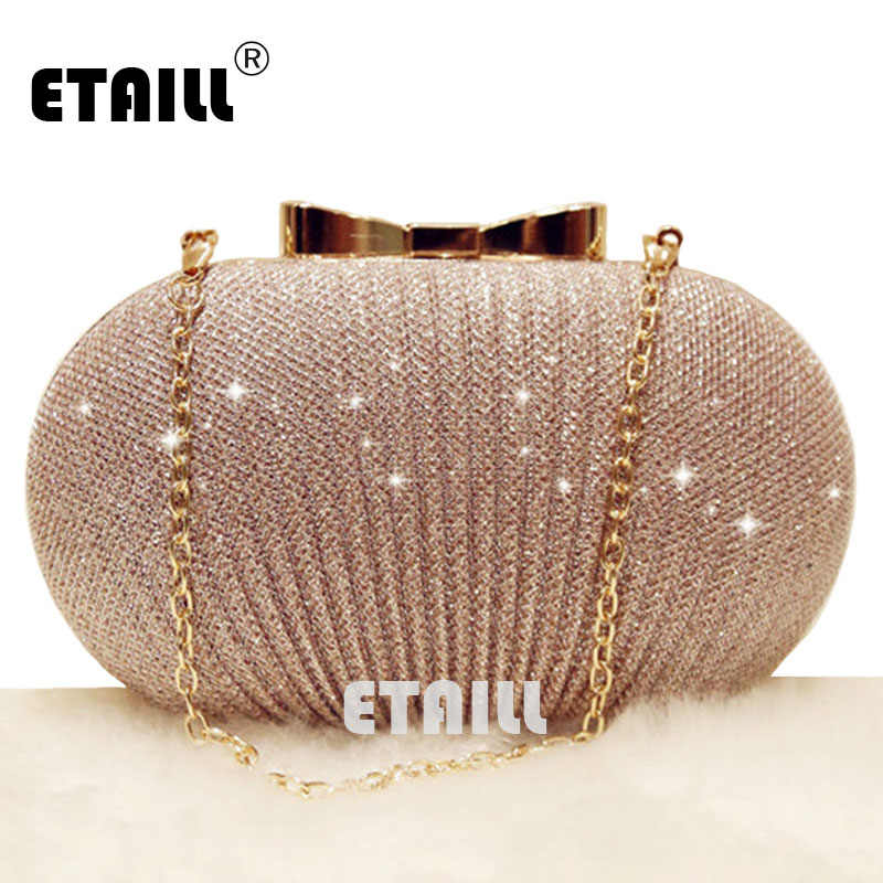 49db5872a631 ETAILL Champagne Nude Clutch Evening Bag for Women 2018 Glitter ...