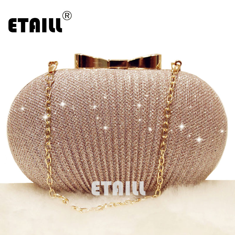 ETAILL Champagne Nude Clutch Evening Bag for Women 2018 Glitter Party Banquet Bag Girls Wedding Clutch Bag Chain Shoulder Bag