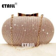 цены на ETAILL Champagne Nude Clutch Evening Bag for Women 2018 Glitter Party Banquet Bag Girls Wedding Clutch Bag Chain Shoulder Bag  в интернет-магазинах