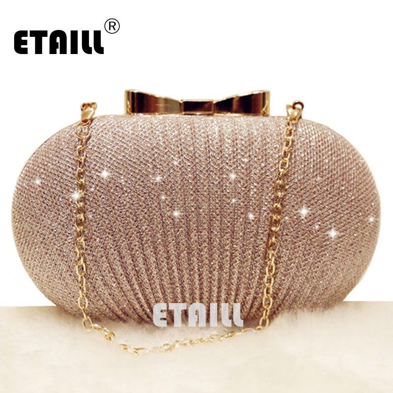 ETAILL Champagne Nude Clutch Evening Bag for Women 2018 Glitter Party Banquet Bag Girls Wedding Clutch Bag Chain Shoulder Bag
