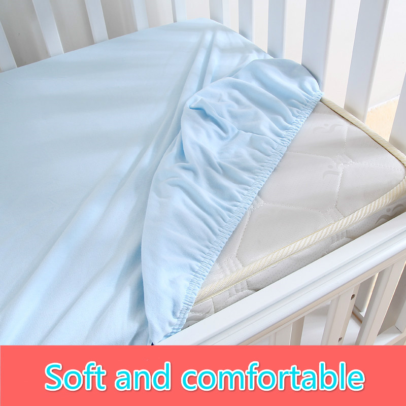 1 Pc 100 Cotton Solid Color Soft Baby Mattress Cover Ed Sheets Crib Bed Sheet Kids Bedspread Antiskid Elastic Multicolor In Bedding Sets From Mother
