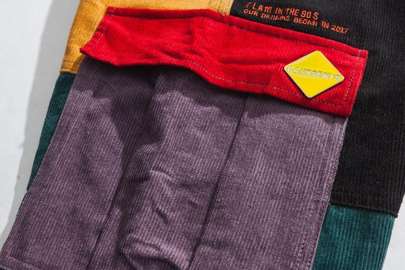 Corduroy Color Block Patchwork Cargo Pants 3