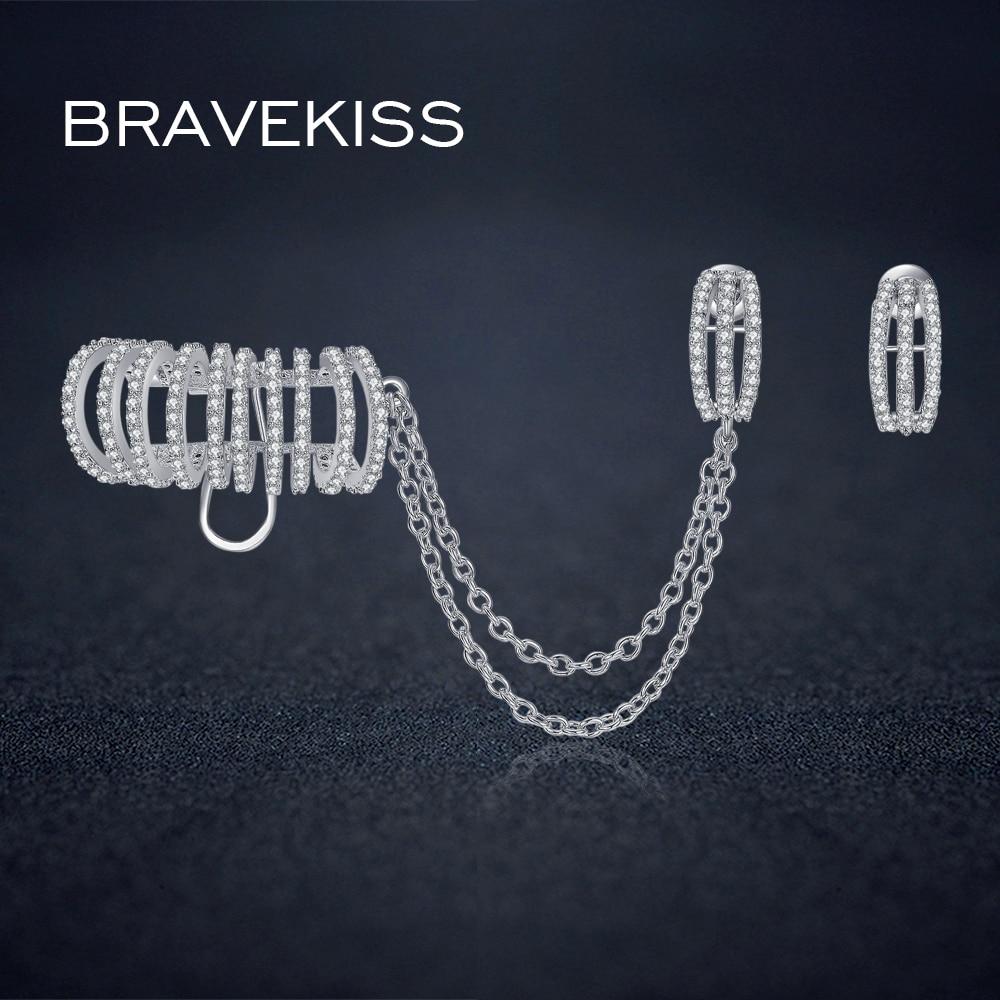 BRAVEKISS западные серьги со стразами пирсинг на ушной хрящ серьги гвоздики с цепочкой для женщин букле pendientes BUE0243