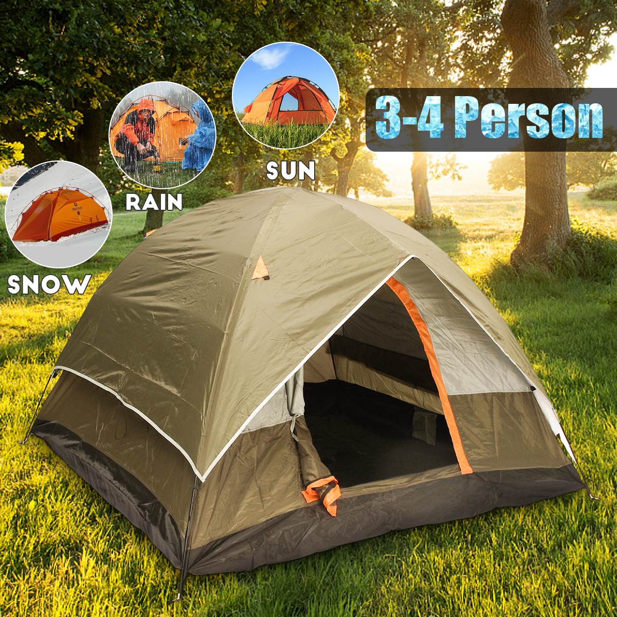 3-4 Person Windbreak Camping Tent Dual Layer Waterproof Open Anti UV Tourist Tents For Outdoor Hiking Beach Travel3-4 Person Windbreak Camping Tent Dual Layer Waterproof Open Anti UV Tourist Tents For Outdoor Hiking Beach Travel