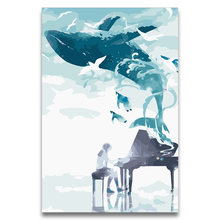 DIY Painting By Numbers Anime picture Girl playing music and Whale seagull enjoying music,drawing Coloring for girls(China)
