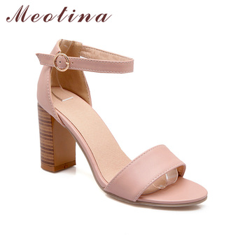 Meotina Shoes Women Sandals Summer 2018 Open Toe Ankle Strap Thick High Heels Sandals White Pink Ladies Shoes Big Size 9 10 43 2